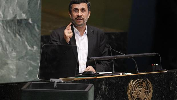 "Iranian President Mahmoud Ahmadinejad speaks during the 67th United Nations General Assembly at the UN headquarters in New York on Sept. 26, 2012. He accused the West of nuclear ""intimidation"". (LUCAS JACKSON/REUTERS)"