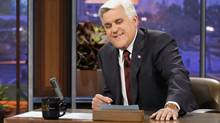 "This Nov. 5, 2012 photo released by NBC shows Jay Leno, host of ""The Tonight Show with Jay Leno,"" on the set in Burbank, Calif. NBC announced Wednesday, April 3, 2013 that Jimmy Fallon is replacing Jay Leno as the host of ""The Tonight Show"" in spring 2014. (Paul Drinkwater/AP)"