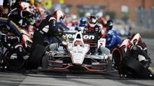 Will Power, of Australia, pits during the IZOD IndyCar Grand Prix of Baltimore auto race, Sunday, Sept. 2, 2012, in Baltimore. (AP Photo/Nick Wass) (Nick Wass/AP)