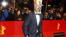 Shia LaBeouf makes a statement on the red carpet at the Berlin Film Festival on Feb. 9. (TOBIAS SCHWARZ/REUTERS)