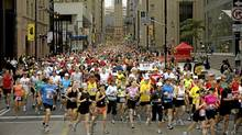 Thousands of people ran down Bay Street at the start of the Scotiabank Toronto Waterfront Marathon on September 28, 2008. (Jennifer Roberts/For The Globe and Mail/Jennifer Roberts/For The Globe and Mail)