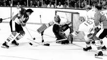 Phil Esposito scores in the second period of Game 2 of the Summit Series to give Canada a 1-0 lead over the Soviet Union. Canada went on to win the Sept. 4, 1972 game 4-1 in Toronto after losing Game 1 two days earlier before a shocked Montreal crowd. (Barrie Davis/Barrie Davis / The Globe and Mail)