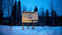 A sign in Moricetown, B.C., warns that a killer is at work along the Highway of Tears. (Rafal Gerszak For The Globe and Mail)