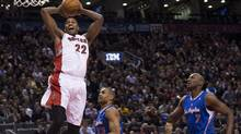 Toronto Raptors forward Rudy Gay slam dunks the ball during first half NBA action in Toronto on Friday, Feb. 1, 2013. (Nathan Denette/THE CANADIAN PRESS)