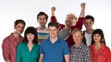 The Halifax-based comedy troupe Picnicface (left to right) Andrew Bush, Evany Rosen, Mark Little, Scott Vrooman, Brian Eldon Macquarrie, Bill Wood, Kyle Dooley and Cheryl Hann in a handout photo. (Scott Munn/Scott Munn)