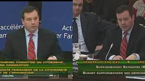 Immigration Minister Jason Kenney is shown before after after he was asked to take down a backdrop he brought along to a committee hearing on Nov. 24, 2011.