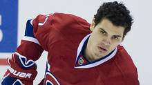 Montreal Canadiens' Rene Bourque warms up prior to an NHL hockey game against the New York Rangers in Montreal, Sunday, January 15, 2012. (The Canadian Press)
