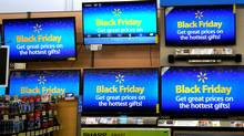 Advertisements of the upcoming Black Friday sales are seen on TV screens at a Walmart store in Westminster, Colorado, U.S. November 23, 2016. REUTERS/Rick Wilking (RICK WILKING/REUTERS)