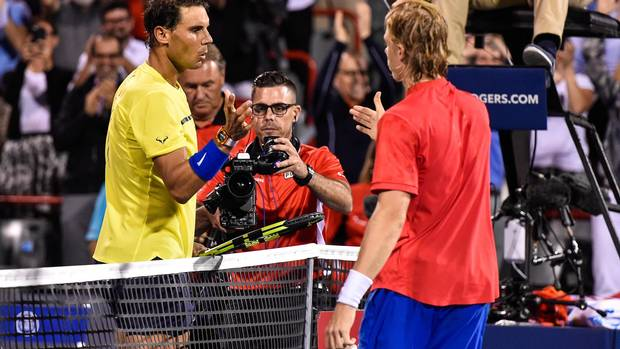 Rafael Nadal congratulates Denis Shapovalov for his victory during day seven of the Rogers Cup