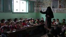 The kindergarten classroom of a Hamas school in Gaza City. (The Globe and Mail)