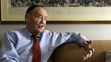 Vanguard group founder John Bogle makes a point during an interview at his office on the Vanguard campus, near Valley Forge, Pennsylvania.