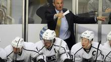 LA Kings head coach Darryl Sutter on the bench during a game against the Chicago Blackhawks in the first period of their NHL hockey game in Chicago, Monday, March 25, 2013. (David Banks/Special to The Globe and Mail)