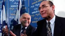 Israel's Infrastructure Minister Uzi Landau, 55, with former Prime Minister Yitzhak Shamir (L) as he (Jim Hollander/Reuters/Jim Hollander/Reuters)
