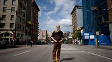 Blair Hewitt, who lives in a single room occupancy hotel in the Downtown Eastside, stands for a photograph on East Hastings Street near Main Street in Vancouver, B.C., on Friday May 16, 2014. (DARRYL DYCK/THE GLOBE AND MAIL)