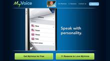 A screengrab from the website for MyVoice is shown in a handout photo. A new Canadian-made smartphone app aims to give a voice to people who have difficulty speaking due to autism, aphasia or other health conditions. (HO/THE CANADIAN PRESS)