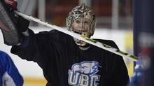 Former Team Canada goalie Danielle Dube practices with the UBC women's hockey team at Varsity Arena, March 6, 2013. (Fred Lum/The Globe and Mail)