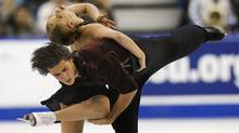 Kaitlyn Weaver and Andrew Poje of Canada compete in their free skate ice dance program during the Skate Canada International figure skating competition in Saint John, New Brunswick, October 26, 2013. (MARK BLINCH/REUTERS)