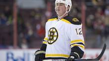 Newly acquired Boston Bruins' Tomas Kaberle warms up prior to taking on the Ottawa Senators in NHL hockey action at the Scotiabank Place in Ottawa on Thursday, Feb. 8, 2011. Kaberle was traded from the Toronto Maple Leafs. (Sean Kilpatrick)