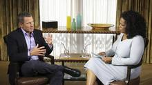 Cyclist Lance Armstrong is interviewed by Oprah Winfrey in Austin, Tex., January 14, 2013. (George Burns/Reuters)