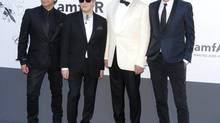 The members of Duran Duran, from left, Roger Taylor, Nick Rhodes, Simon Le Bon and John Taylor arrive at amfAR Cinema Against AIDS benefit during the 66th international film festival, in Cap d'Antibes, southern France. (Todd Williamson/Invision)