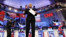 CNN anchorman Wolf Blitzer moderates the during the CNN GOP National Security debate in Washington, November 22, 2011. (Jim Bourg/REUTERS)