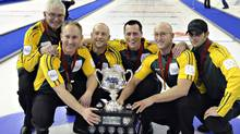 Members of Northern Ontario pose with the trophy after winning the gold medal game over Manitoba at the Canadian Men's Curling Championships in Edmonton, Alberta March 10, 2013. (L to R) Tom Coulterman, Brad Jacobs, Ryan Fry, E.J. Harnden, Ryan Harnden and Matt Dumontelle. (Reuters)