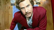 Will Ferrell as Ron Burgundy in the original Anchorman movie, Anchorman: The Legend of Ron Burgundy.