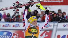 Michaela Kirchgasser of Austria celebrates after winning the women's slalom World Cup race in Kranjska Gora on Sunday. (SRDJAN ZIVULOVIC)
