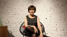 Actress and playwright Linda Griffiths poses for a photo on stage of the play she wrote and is staring in, Heaven Above, Heaven Below at the Theatre Passe Muraille in Toronto on Nov.14, 2013. (Deborah Baic/The Globe and Mail)