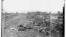 Confederate dead by a fence on the Hagerstown road during the Battle of Antietam, Sept. 18, 1862. (Alexander Gardner/Library of Congress)