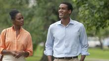 """Tika Sumpter, left, and Parker Sawyers in a scene from """"Southside With You."""" (Matt Dinerstein/Miramax and Roadside Attractions/AP)"""