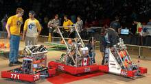 Robot 2386, Burlington Central's machine, competes at the Hershey Centre in March at the FRC Greater Toronto West Regionals. (Lorraine Sommerfeld/Lorraine Sommerfeld)