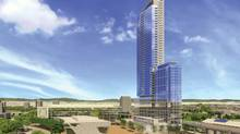Adjacent to the Surrey Central SkyTrain station, a new urban village is springing up in Surrey, B.C. Here is an architectural rendering of 3 Civic Plaza. The tallest tower will house 353 residential suites and will stand more than 50 storeys high. (Century Group)