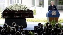 Former Prime Minister Brian Mulroney reminisces during the funeral service for Nancy Reagan at the Ronald Reagan Presidential Library on Friday in Simi Valley, Calif. (Jae C. Hong/AP)