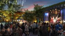 A conceptual rendering of a stage at Seattle's inaugural Upstream Music Fest + Summit.