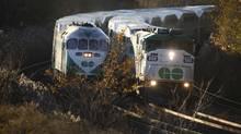 GO trains heading into Toronto Nov 10, 2010. (Moe Doiron/The Globe and Mail)