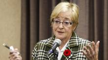 Maude Barlow, national chairperson of the Council of Canadians, speaks at a counter summit to the Conservative convention in Calgary, Alta., on Nov. 1, 2013. (Jeff McIntosh/THE CANADIAN PRESS)