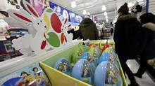 Easter products on display at Toy R Us at Eglinton Avenue and Yonge Street location on March 5, 2012, from various candy choices to a preprepared basket. (Deborah Baic/Deborah Baic/The Globe and Mail)