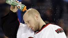 Ottawa Senators goalie Craig Anderson sprays water on his head during a break against the Tampa Bay Lightning in the second period of an NHL hockey game, Tuesday, April 9, 2013, in Tampa, Fla. (Associated Press)
