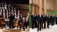 On the left: The Toronto Symphony Orchestra delivered baritone Russell Braun backed by 135 members of the Mendelssohn Choir and 35 TSO musicians. On the right: In keeping with the its period style, Tafelmusik Baroque Orchestra served up consistently quick and exciting tempos. (Handout)