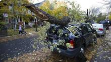A fallen tree limb rests on top of a car in Toronto, Tuesday October 30/2012 following rain and high winds overnight from superstorm Sandy. (Kevin Van Paassen/The Globe and Mail)