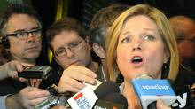 Andrea Horwath speaks with members of the media after winning the leadership of the Ontario New Democrats in Hamilton, Ontario on Saturday March 7, 2009. (Cathie Coward/The Canadian Press/Cathie Coward/The Canadian Press)