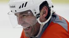 Philadelphia Flyers right wing Jaromir Jagr smiles during NHL hockey practice in Voorhees, N.J., Tuesday, April 17, 2012. The Flyers host the Pittsburgh Penguins in Game 4 of a first round Stanley Cup playoffs series on Wednesday. The Flyers lead the best-of-seven games series 3-0. (AP Photo/Alex Brandon) (Alex Brandon/AP)