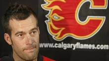 Todd Bertuzzi fields questions at a news conference where five new Flames players were introduced Tuesday, Aug. 26, 2008 at the Saddledome in Calgary. (MIKE STURK/THE CANADIAN PRESS)