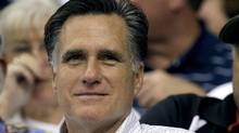 Republican presidential hopeful Mitt Romney watches a baseball game on June 15, 2011. (Chris O'Meara/AP)