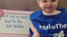 A Twitter picture from Steve Delabar's account of his daughter wearing one of the t-shirts that the Jays made up, in support of the campaign to get him voted onto baseball's all-star roster.