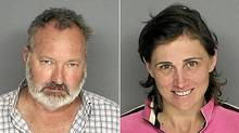 Booking photos from the Santa Barbara County California Sheriff's Department taken Sept. 18, 2010, show actor Randy Quaid and his wife Evi. (HO/Handout/AFP/Getty Images)