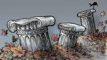 Three political pillars – the Senate, the PMO and the Conservative Party – are all in crisis, a government's nightmare come true (Anthony Jenkins for The Globe and Mail)