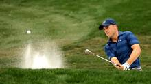Jordan Spieth hits out of a bunker on the 15th hole during the final round of the Valspar Championship on March 13, 2016 in Palm Harbor, Florida. (Mike Lawrie/Getty Images)