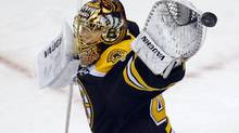 Boston Bruins goaltender Tuukka Rask makes a save against the Toronto Maple Leafs in the second period of Game 1 of their NHL Eastern Conference Quarterfinals hockey playoff series in Boston, Massachusetts May 1, 2013. (BRIAN SNYDER/REUTERS)